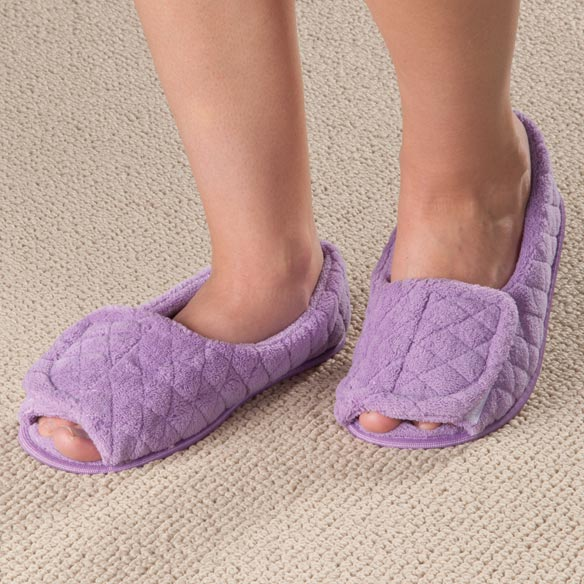 Open Toe Chenille Slippers - View 3