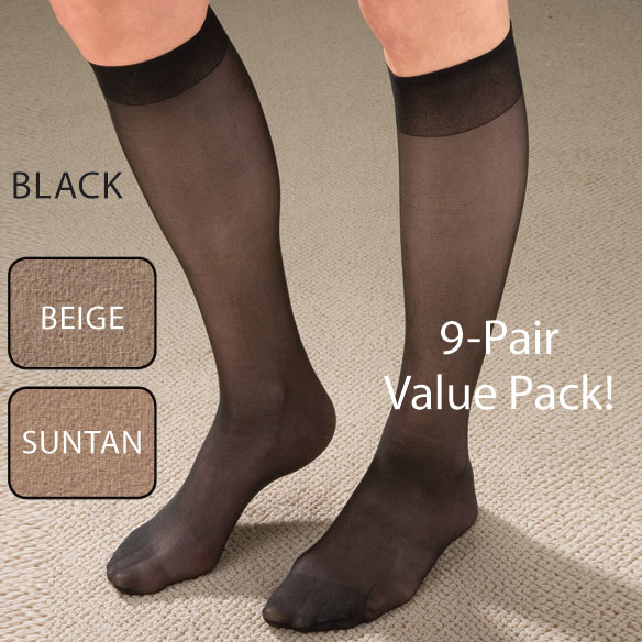 Knee High Support Hose For Women - 9 Pack - View 2
