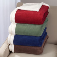 "Bedding & Accessories - Ultra Plush Microfiber Sherpa Throw - 50""x60"""